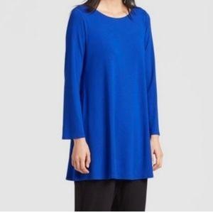 Eileen Fisher Blue Long Sleeve Drapey Tunic Top Sm